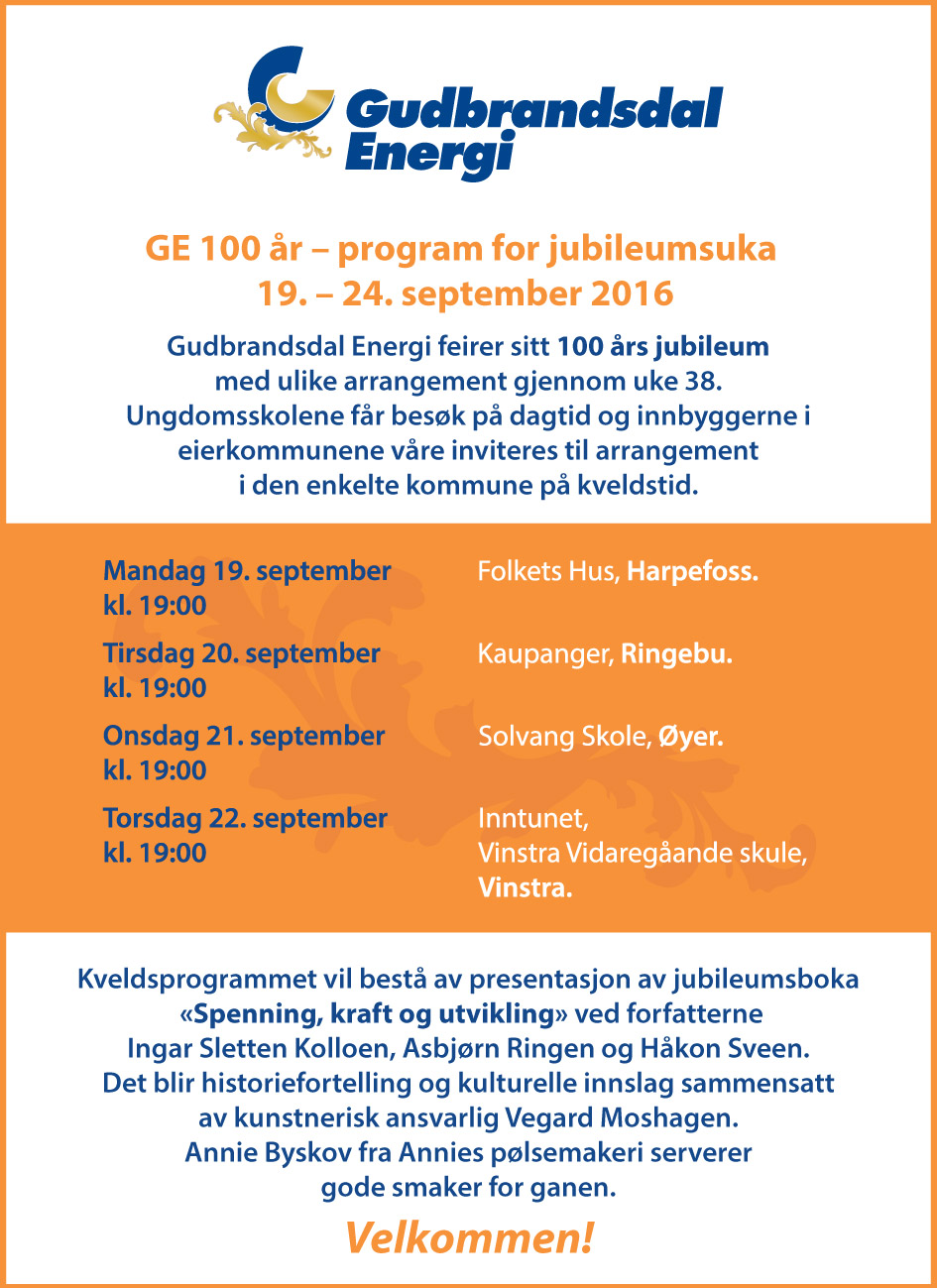 GE 100 år – program for jubileumsuka 19. – 24. september 2016